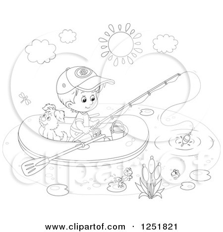 Clipart of a Black and White Boy and His Dog Fishing from a Raft.
