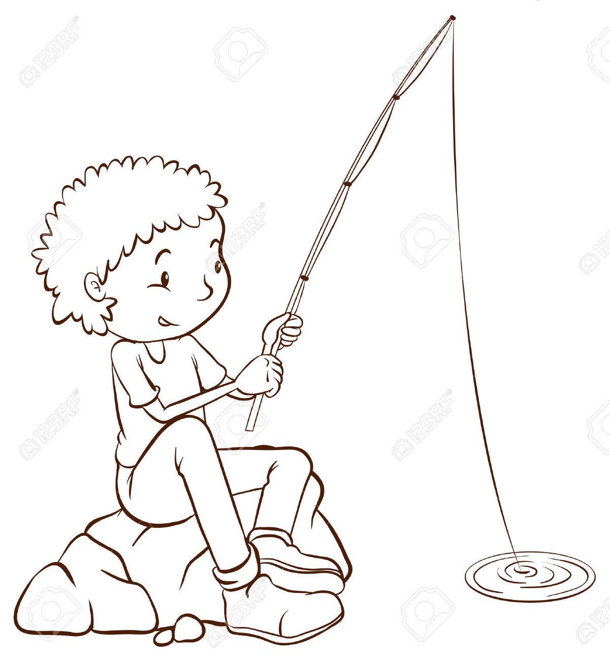 Illustration of a simple plain sketch of a boy fishing on a white...