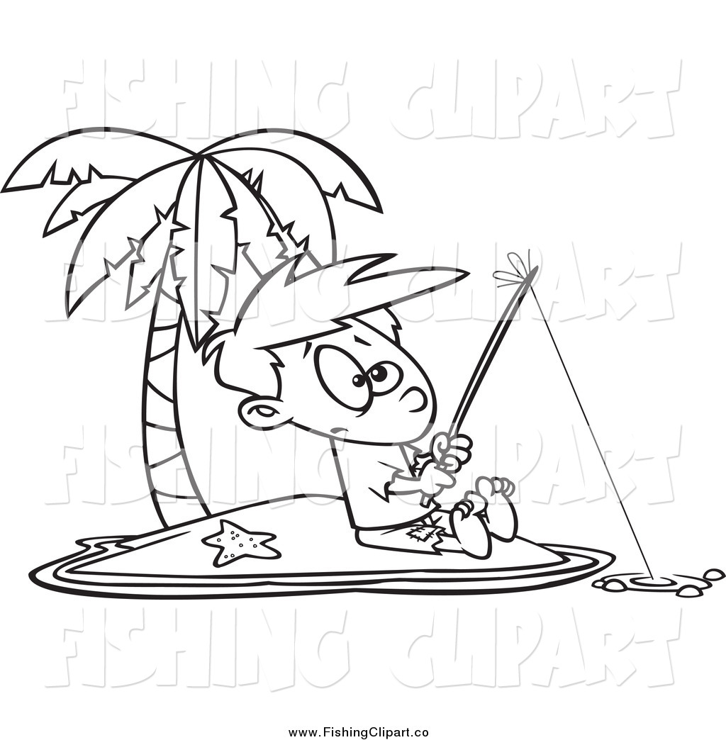 Clip Art of a Black and White Boy Fishing on an Island by toonaday.