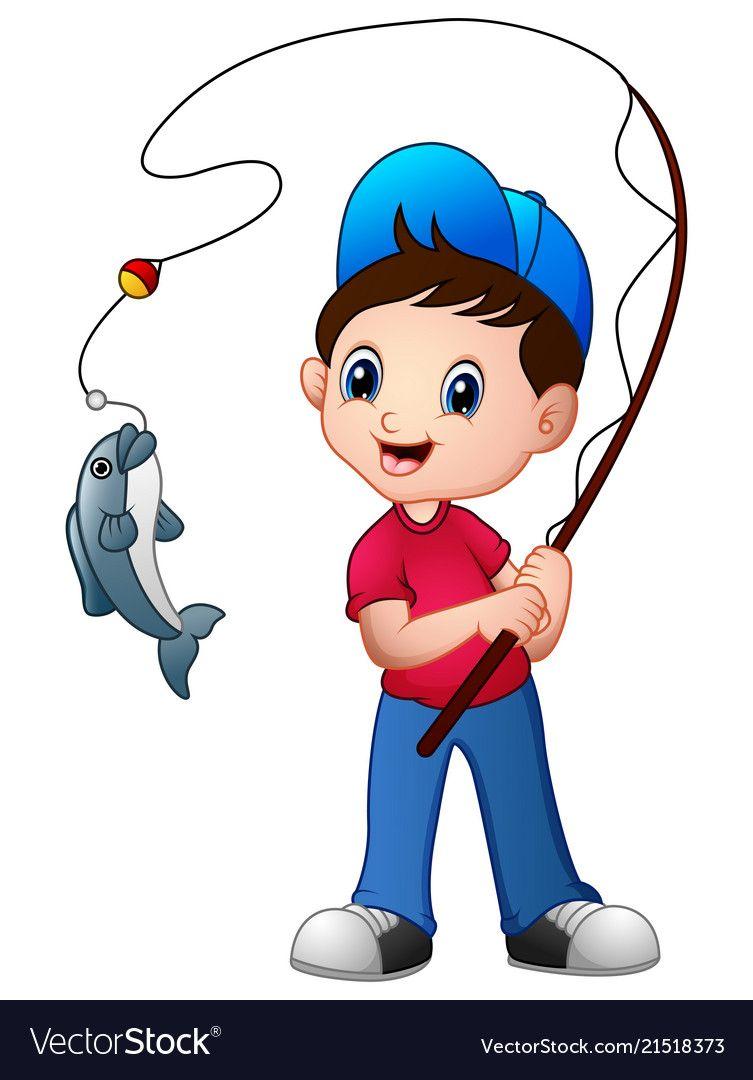 Cute cartoon boy fishing Royalty Free Vector Image.