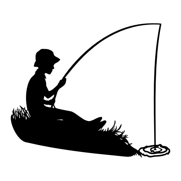 Boy fishing silhouette.