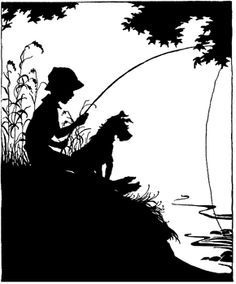 boy fishing clipart silhouette clipground