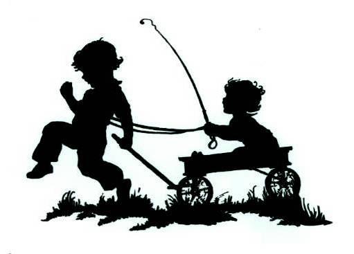 boys fishing silhouettes.