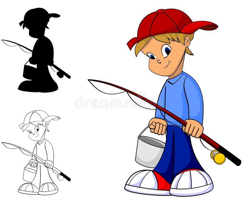 Fishing Kid Stock Illustrations.