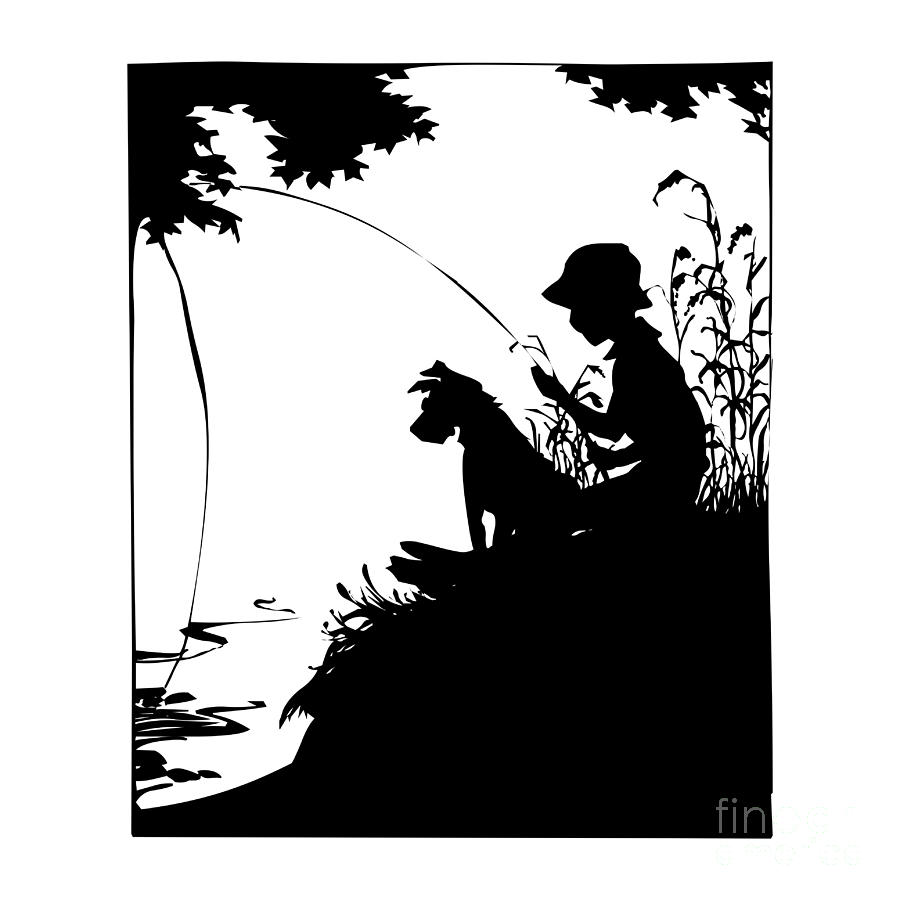 Silhouette Of A Boy Fishing With His Dog.