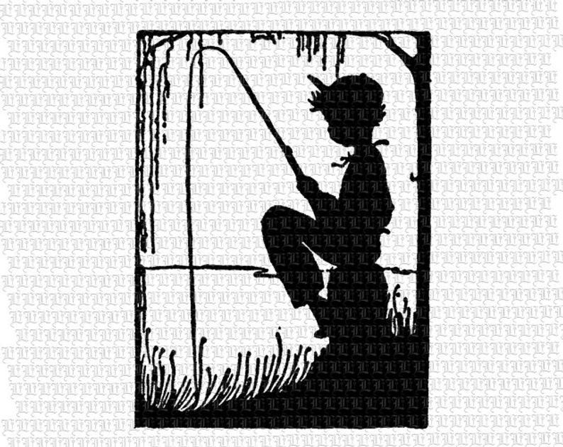 Boy Fishing Kids Children Silhouettes Clip Art Vintage Graphics Digital  Collage Sheet Clipart Illustrations 2310.