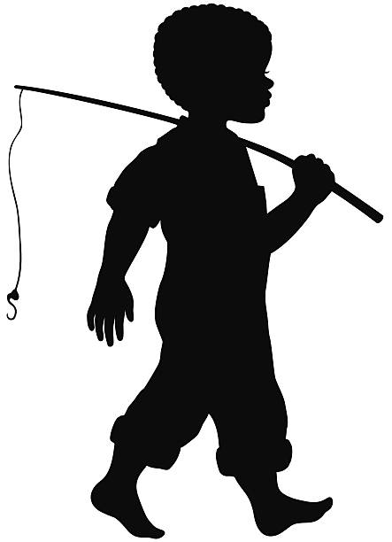 Best Fishing Boy Silhouette Illustrations, Royalty.