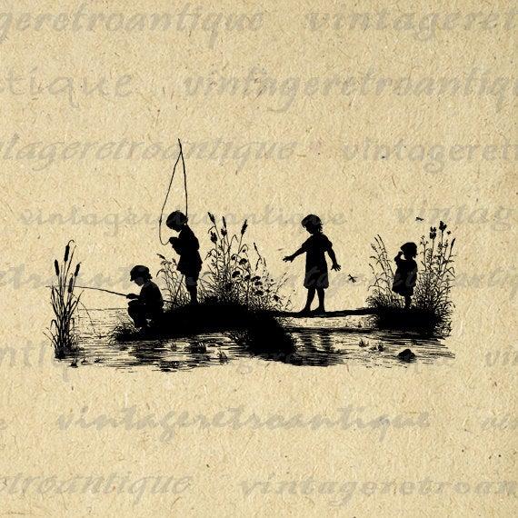 Children Fishing Silhouette Graphic Digital Printable Boy Girl Fish.
