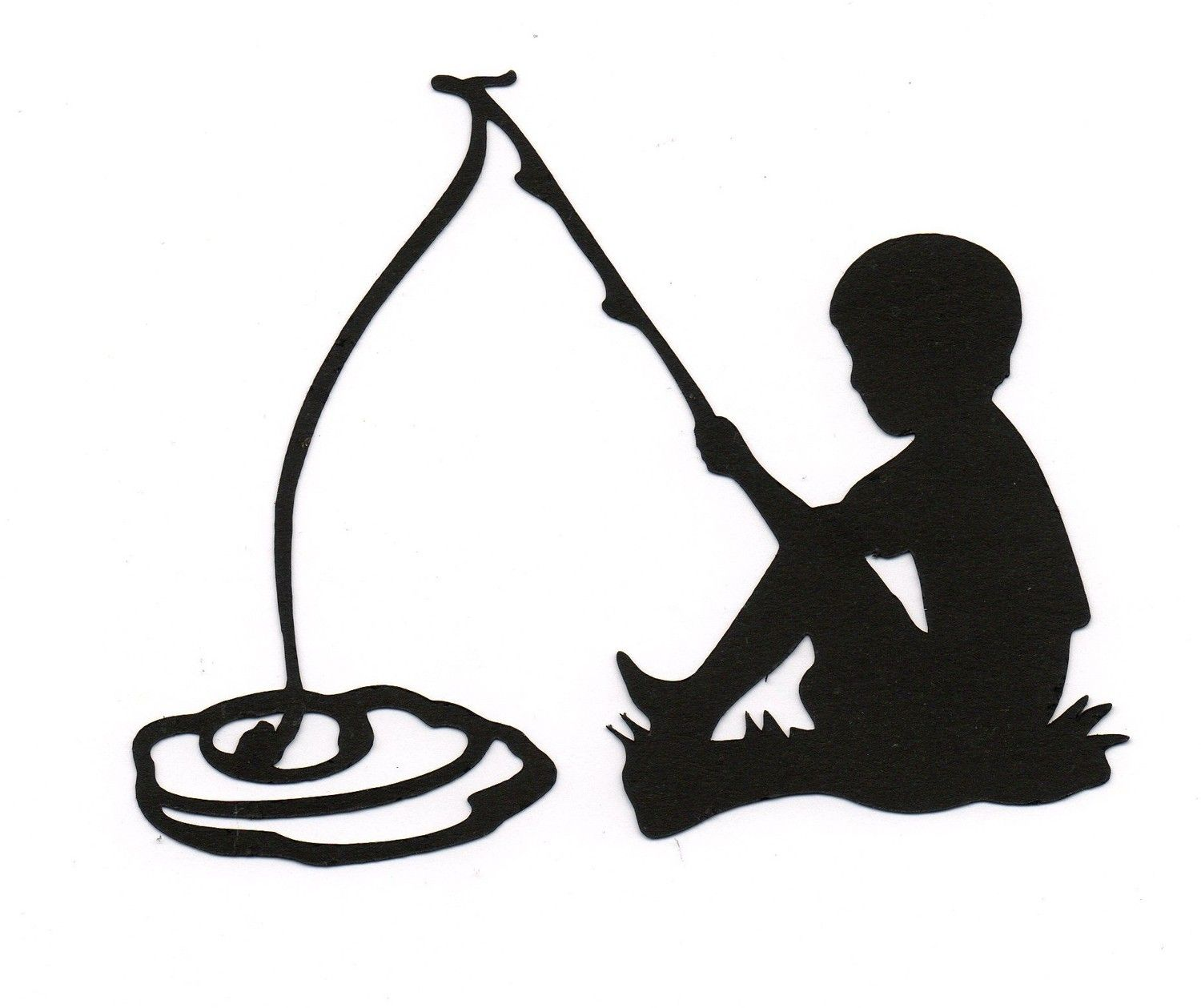 Boy fishing Child Silhouette die cut for scrap booking or card.