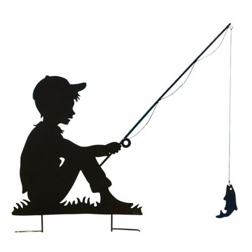 Boy Day Fishing Garden Yard Outdoor Shadow Silhouette Stake.