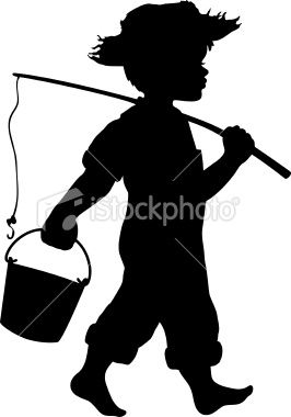 Little boy in straw hat going fishing with fishing pole and.
