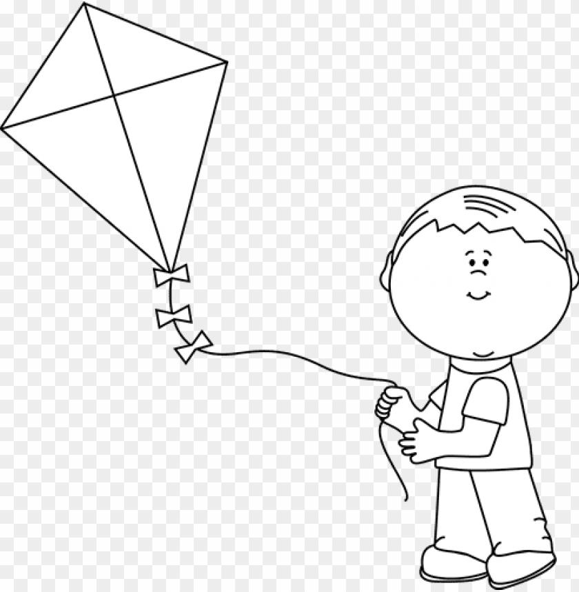 black and white boy flying a kite.