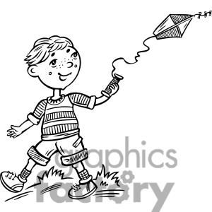 boy flying a kite clipart. Royalty.