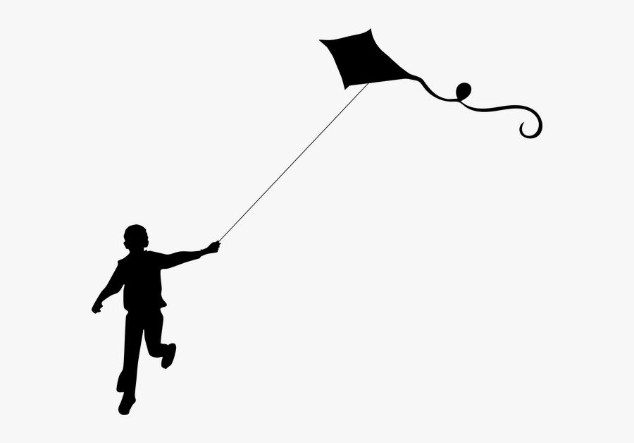 Black And White Girl Flying A Kite Clip Art.