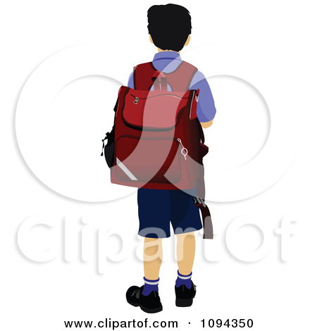 Clipart School Boy From Behind.