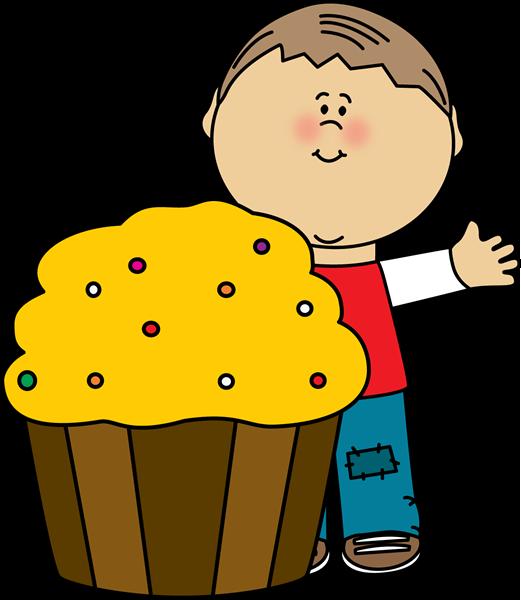 Boy with a Cupcake Clip Art.