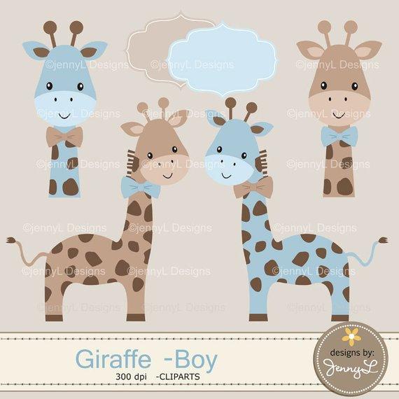 Giraffe Boy Baby Blue Shower Digital Papers and Clipart, Boy.