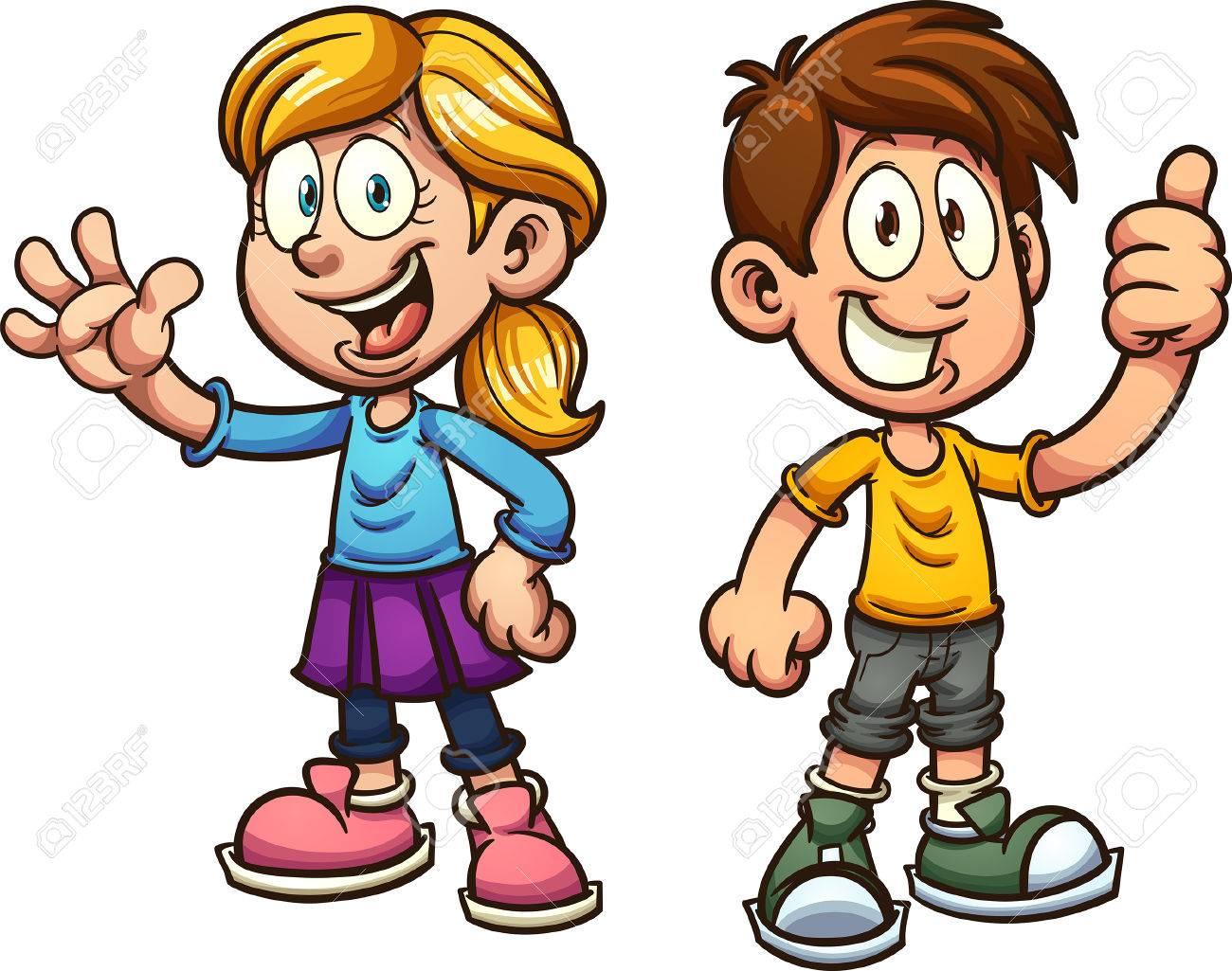 Cute cartoon boy and girl. Vector clip art illustration with...