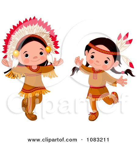 Clipart Dancing Thanksgiving Native American Girl And Boy.