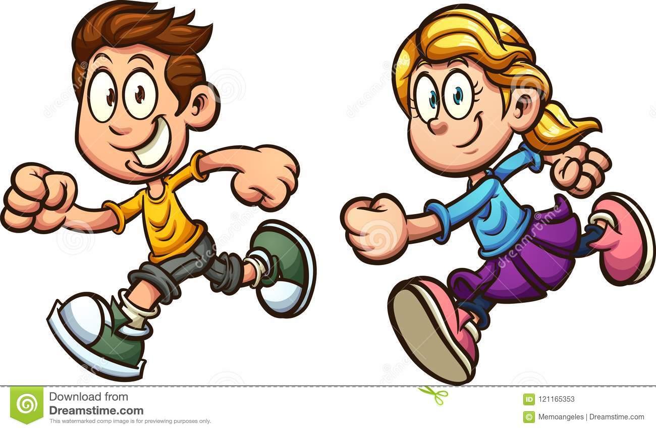 Running Cartoon Boy And Girl Stock Vector.