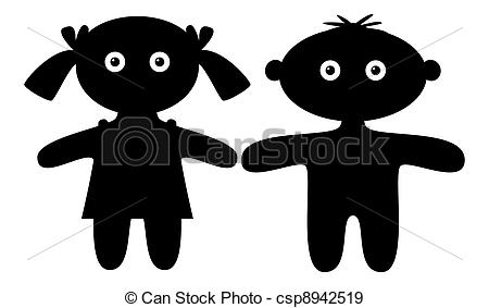 Stock Illustration of Dolls, boy and girl, silhouette.