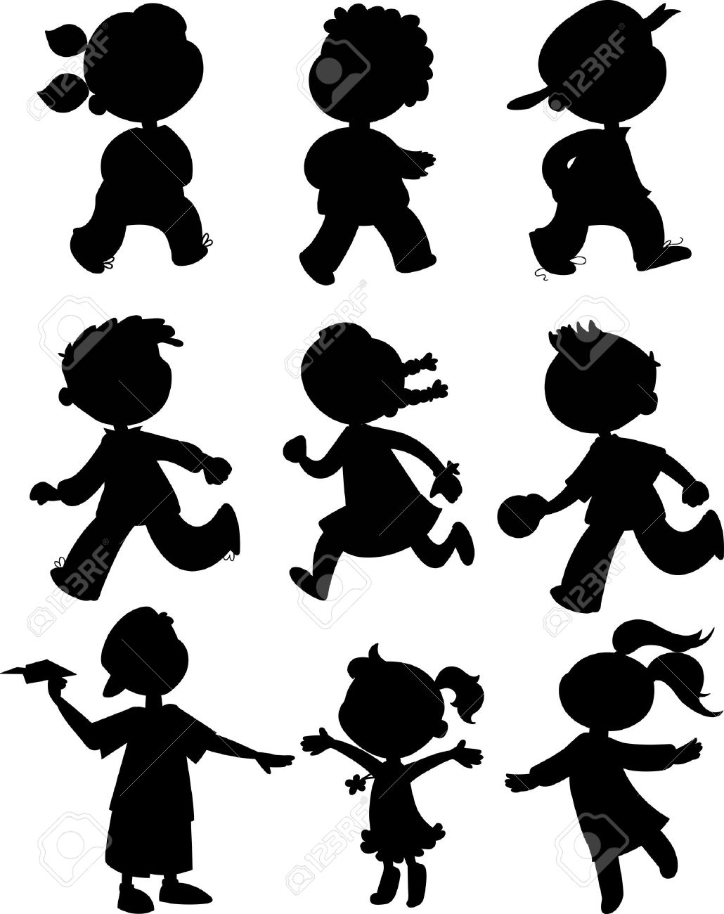 Children Black Silhouettes Of Boy And Girls Walking, Running.