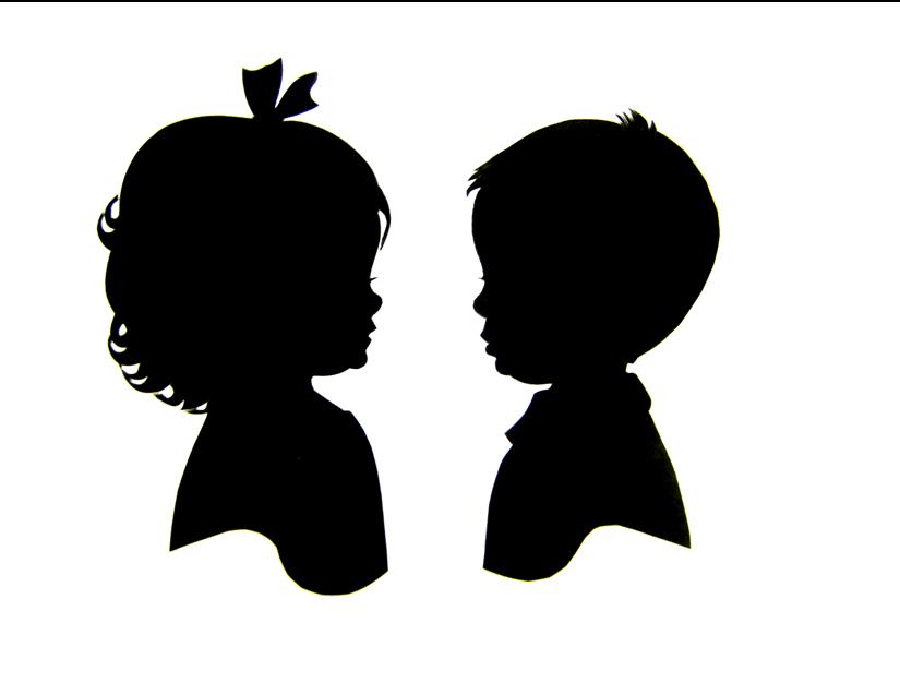 Little boy and little girl silhouettes.