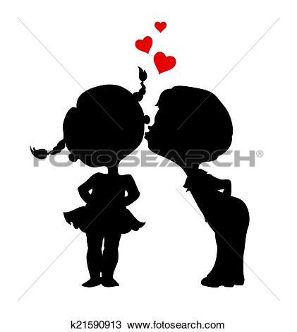 Clip Art of Cartoon boy and girl silhouettes kissing k22992322.