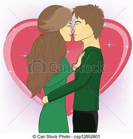 Girl Kissing Clipart.
