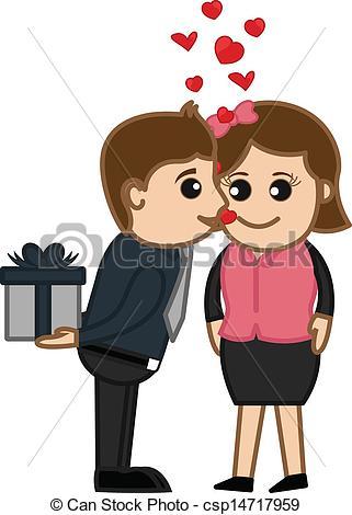 Girl Kissing Boy Clipart.
