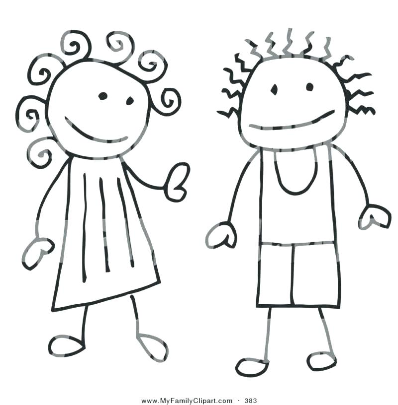 Boy And Girl Coloring Pages Top Rated Medium Image Outline C.