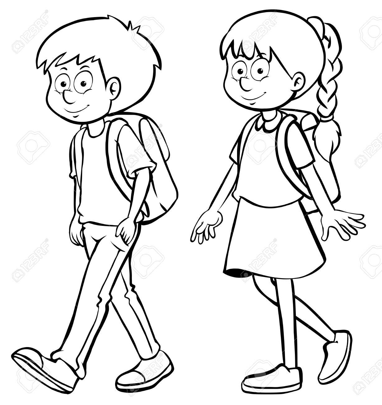 Human outline for boy and girl illustration.