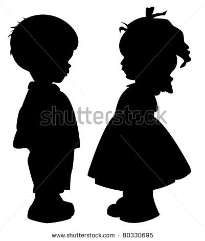 The two silhouette of a boy and girl.