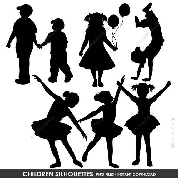 Children Silhouettes Clipart, Children Clip Art, Boy Silhouettes.