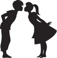 boy and girl kissing silhouette.