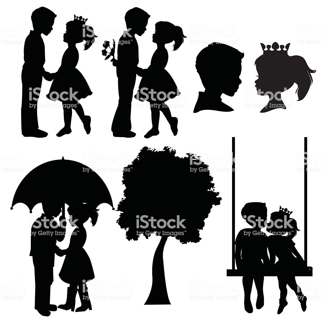 Boy And Girl Silhouettes Stock Illustration.