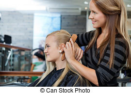 Stock Images of Hairstylist Measuring Hair Length Before Haircut.