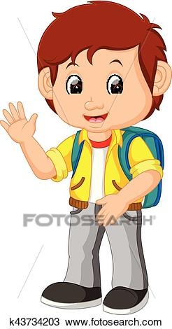 Cute boy go to school Clipart.