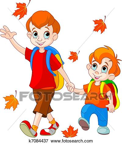 Two boys go to school Clip Art.