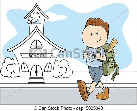 Boy Going to School.