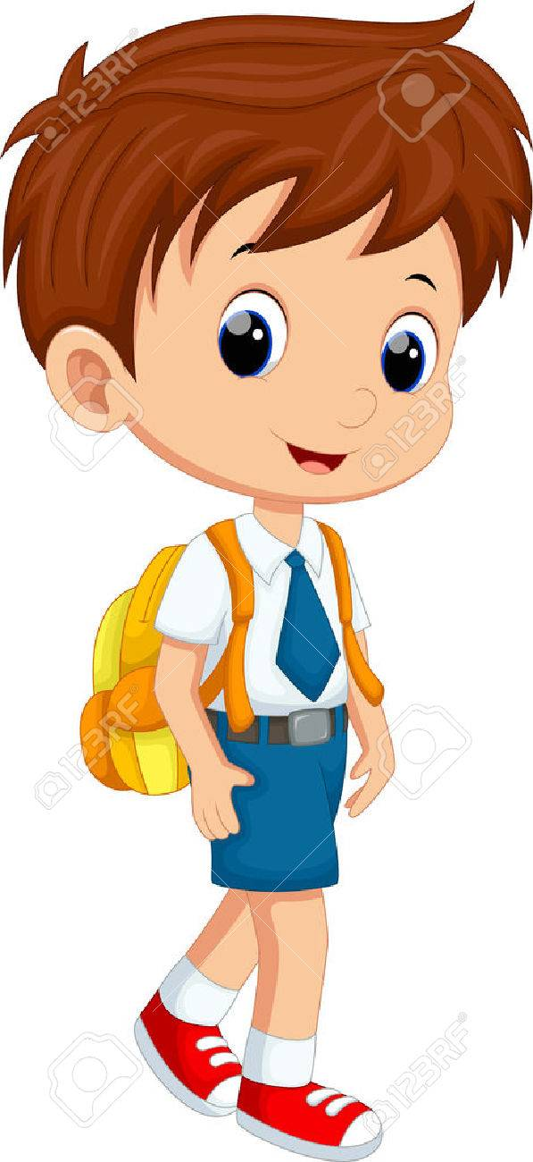 Cute boy in uniform going to school.