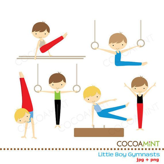 Little Boy Gymnasts Clip Art by cocoamint on Etsy, $5.00.