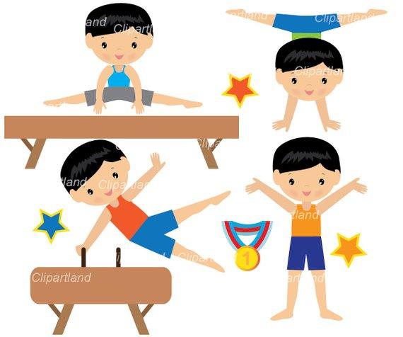 INSTANT Download. Boy gymnasts clip art. Cgymb_2_Gymnastics.