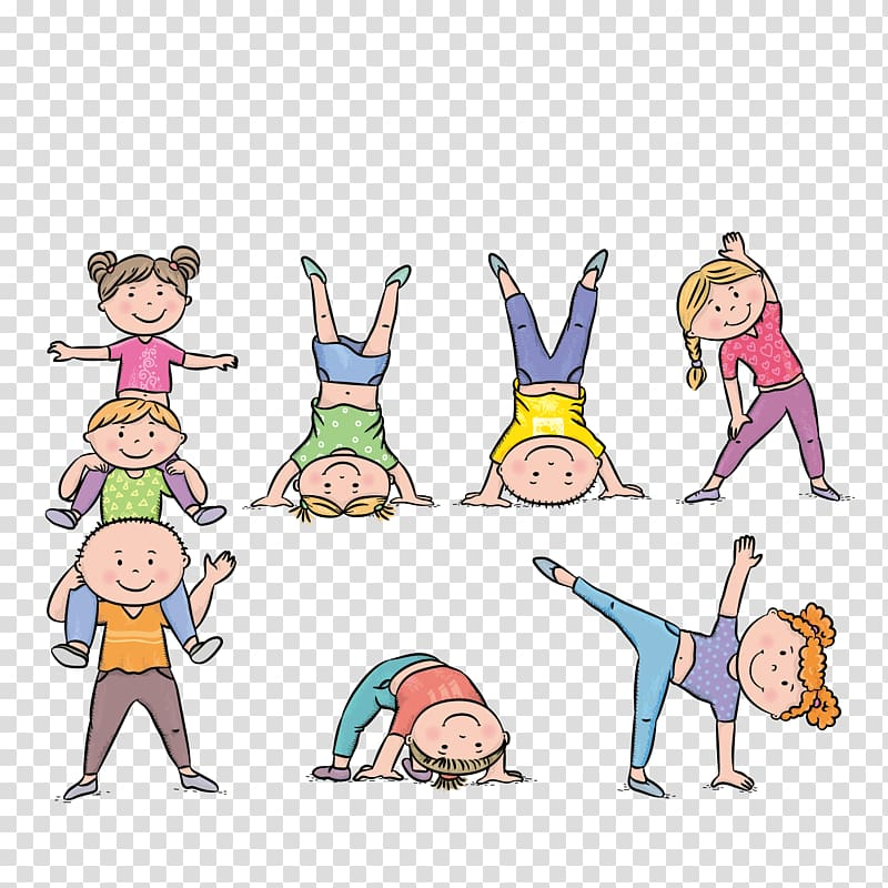 Boy and girl illustrations, Physical exercise Child.