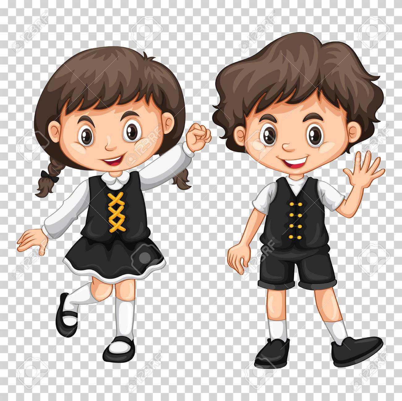 Boy and girl with black hair illustration.