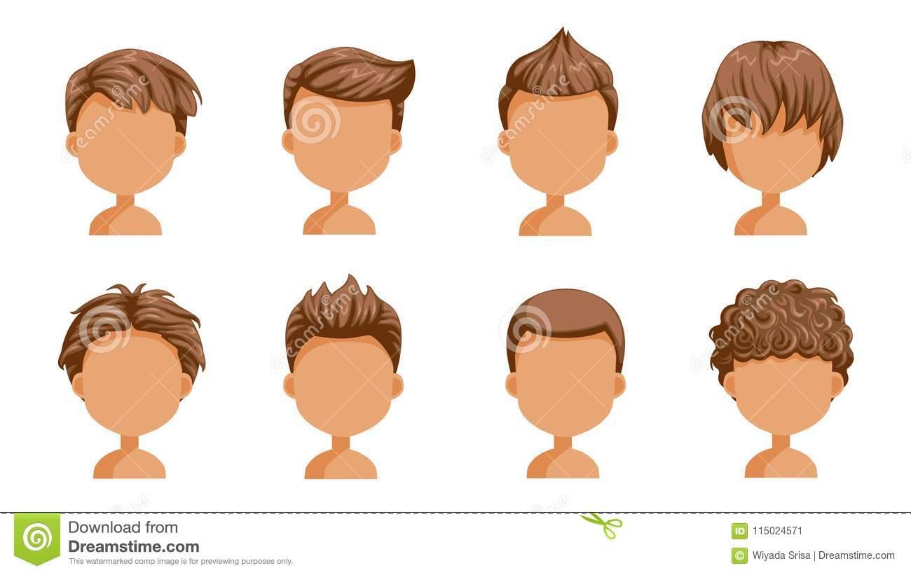 Boy hair rear view stock vector. Illustration of fringe.