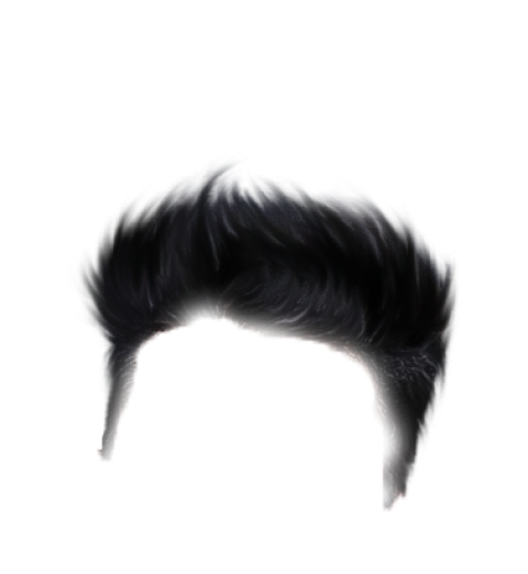 Black SImple Boy Hair Png for Editing photo.
