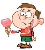 Clip Art of Vector of boy teasing friend for ice cream. k15803149.