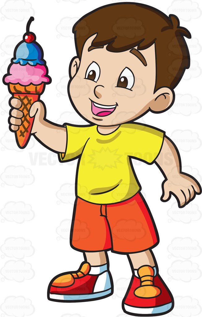 A Young Boy Grabs A Cone Of Ice Cream On A Hot Day.