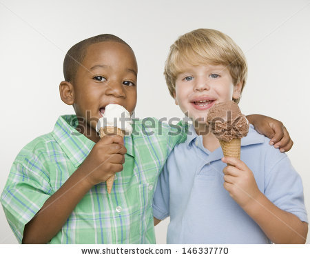 Kids Eating Ice Cream Stock Images, Royalty.